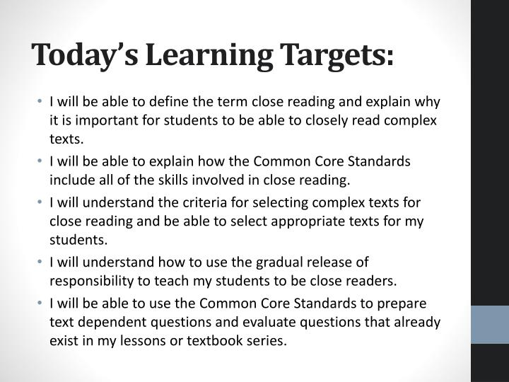 Today s learning targets