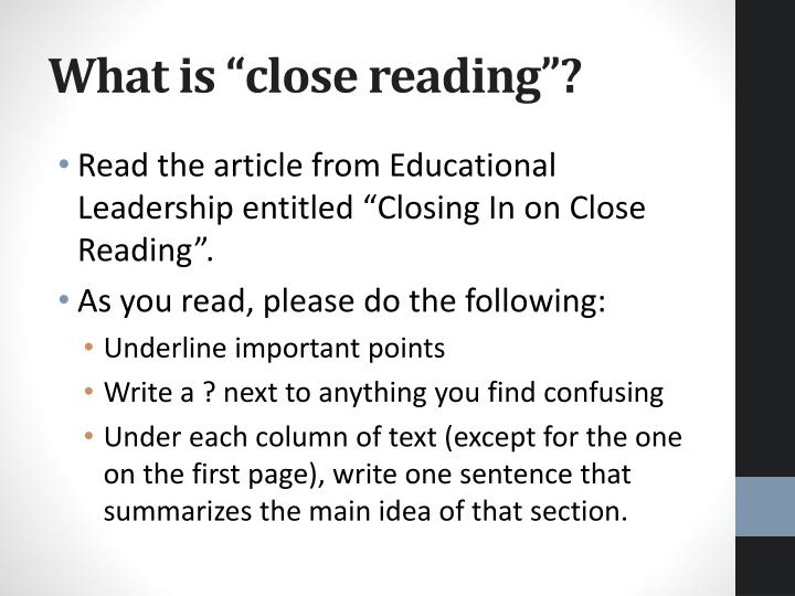 "What is ""close reading""?"