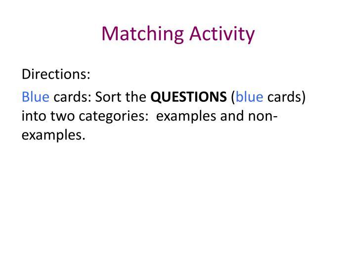 Matching Activity