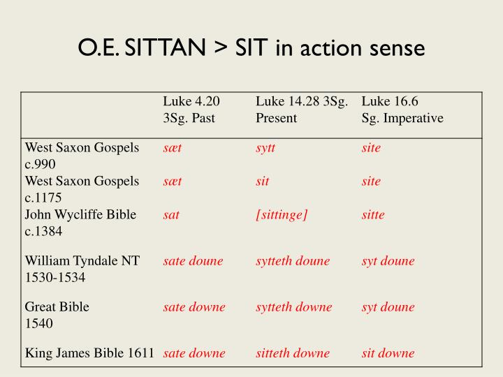 O.E. SITTAN > SIT in action sense