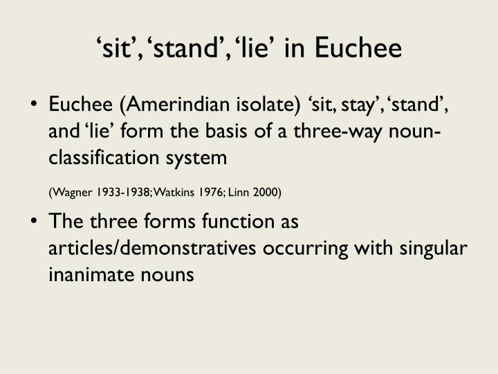 'sit', 'stand', 'lie' in Euchee