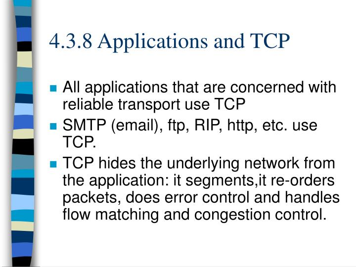 4.3.8 Applications and TCP