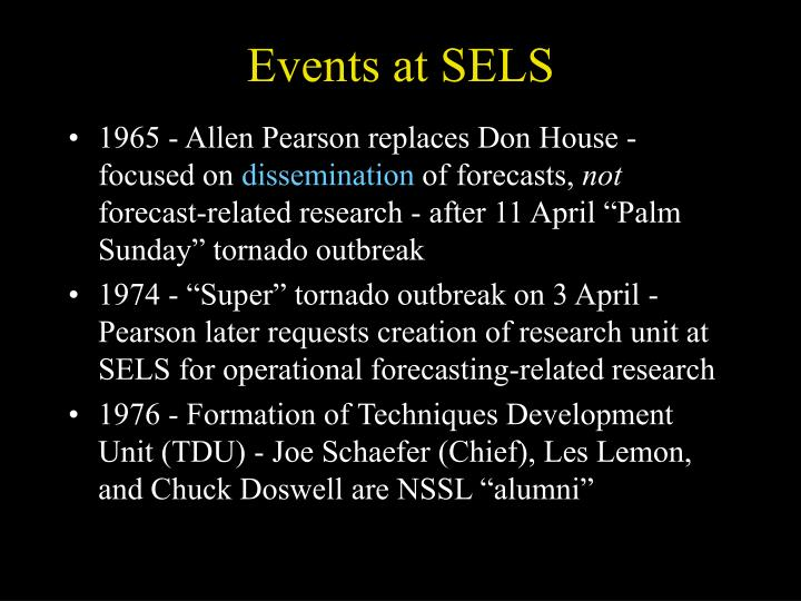 Events at SELS