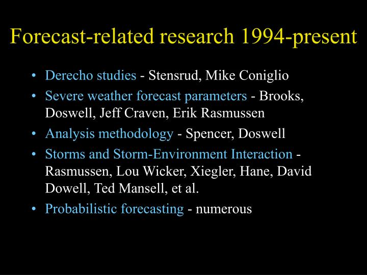 Forecast-related research 1994-present