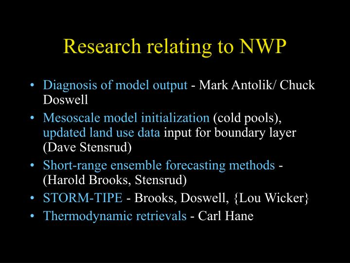 Research relating to NWP