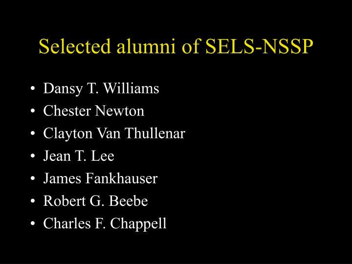 Selected alumni of SELS-NSSP