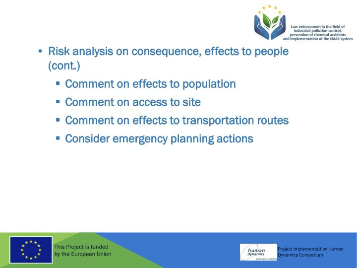 Risk analysis on consequence, effects to people (cont.)
