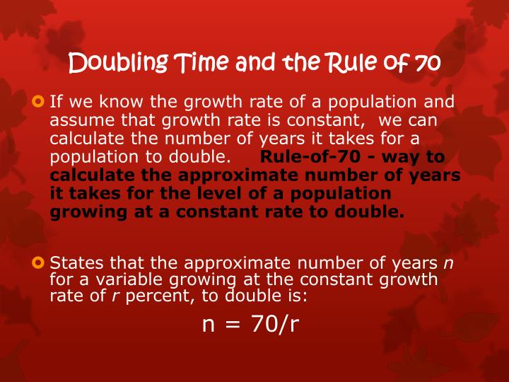 Doubling Time and the Rule of 70