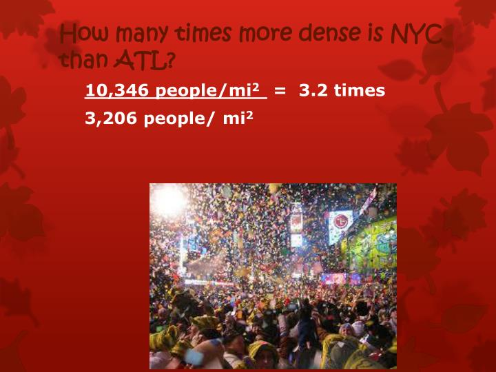 How many times more dense is NYC than ATL?