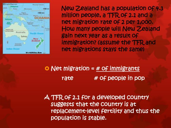 New Zealand has a population of 4.3       million people, a TFR of 2.1 and a net migration rate of 2 per 1,000. How many people will New Zealand gain next year as a result of immigration? (assume the TFR and net migrations stays the same)