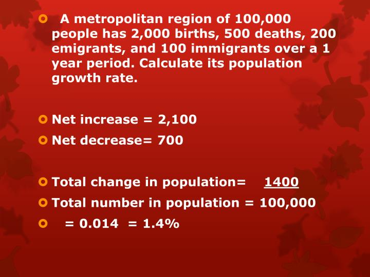 A metropolitan region of 100,000 people has 2,000 births, 500 deaths, 200 emigrants, and 100 immigrants over a 1 year period. Calculate its population growth rate.