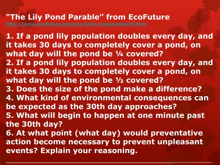 """""""The Lily Pond Parable"""" from EcoFuture"""