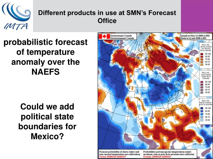 Different products in use at SMN's Forecast Office