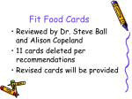 fit food cards
