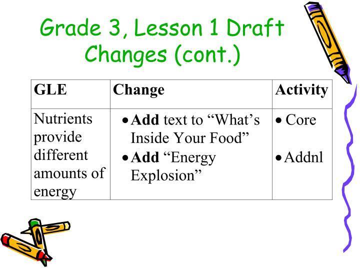 Grade 3, Lesson 1 Draft Changes (cont.)