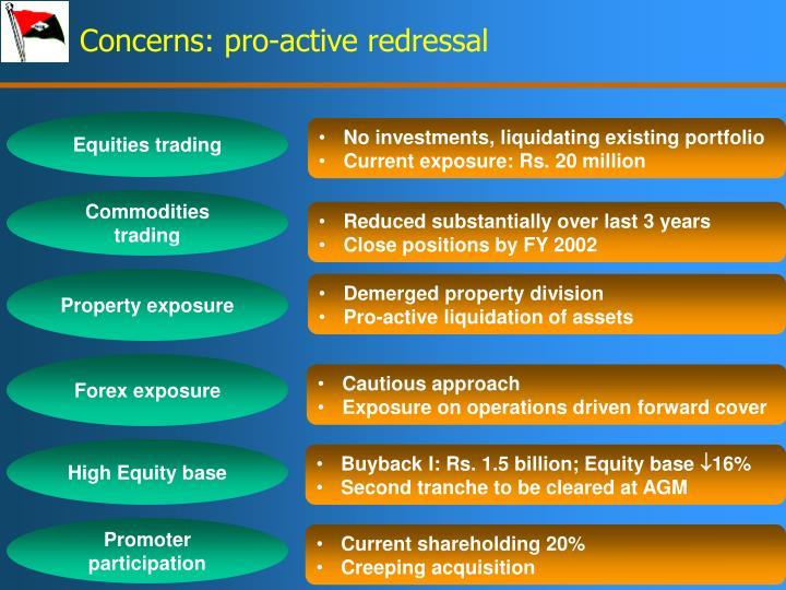 Concerns: pro-active redressal