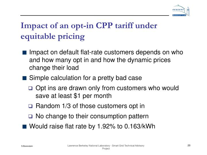 Impact of an opt-in CPP tariff under equitable pricing