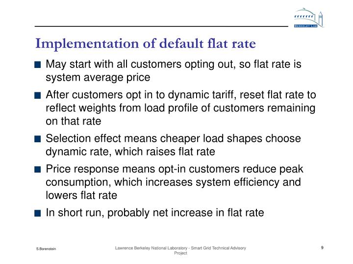 Implementation of default flat rate
