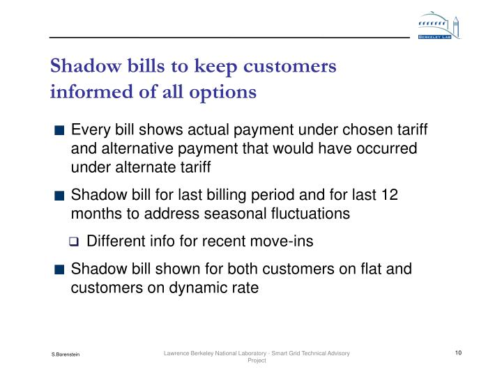 Shadow bills to keep customers informed of all options