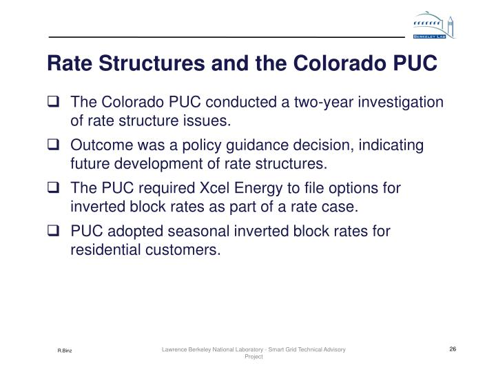 Rate Structures and the Colorado PUC