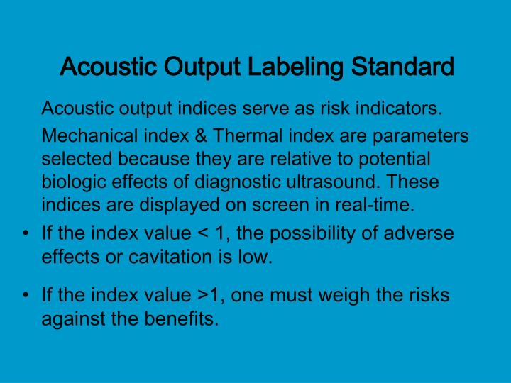 Acoustic Output Labeling Standard