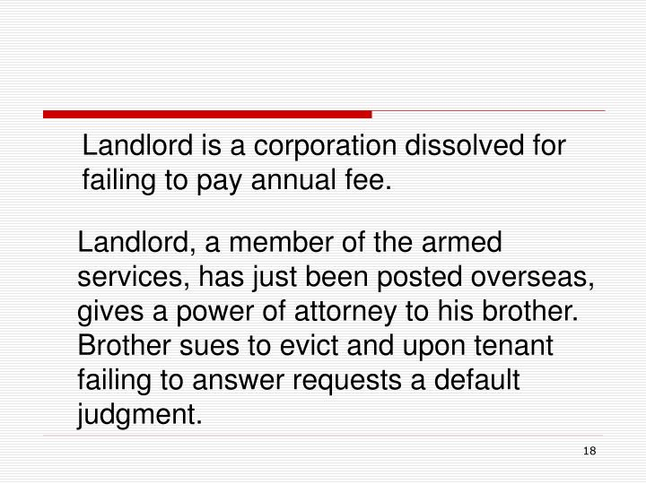 Landlord is a corporation dissolved for failing to pay annual fee.