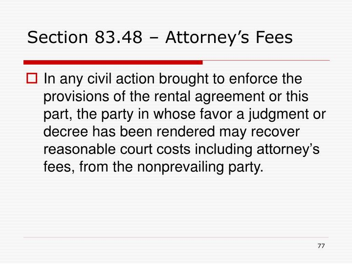 Section 83.48 – Attorney's Fees