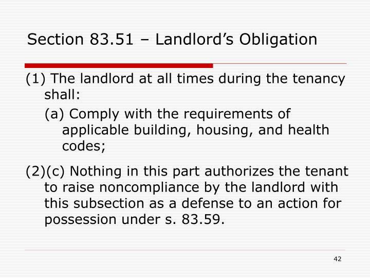 Section 83.51 – Landlord's Obligation