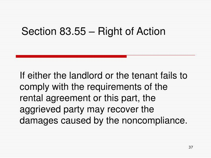 Section 83.55 – Right of Action