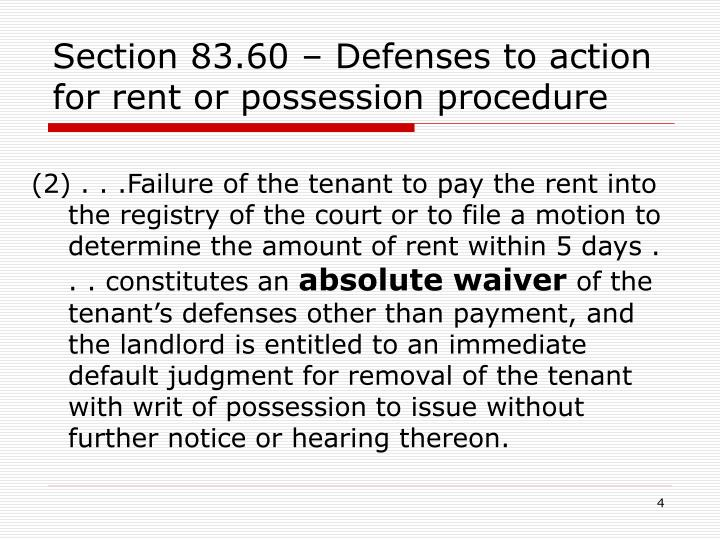 Section 83.60 – Defenses to action for rent or possession procedure