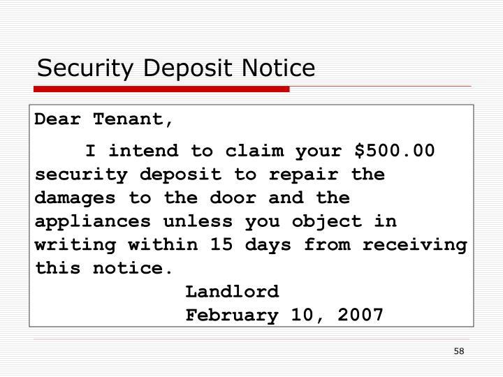 Security Deposit Notice
