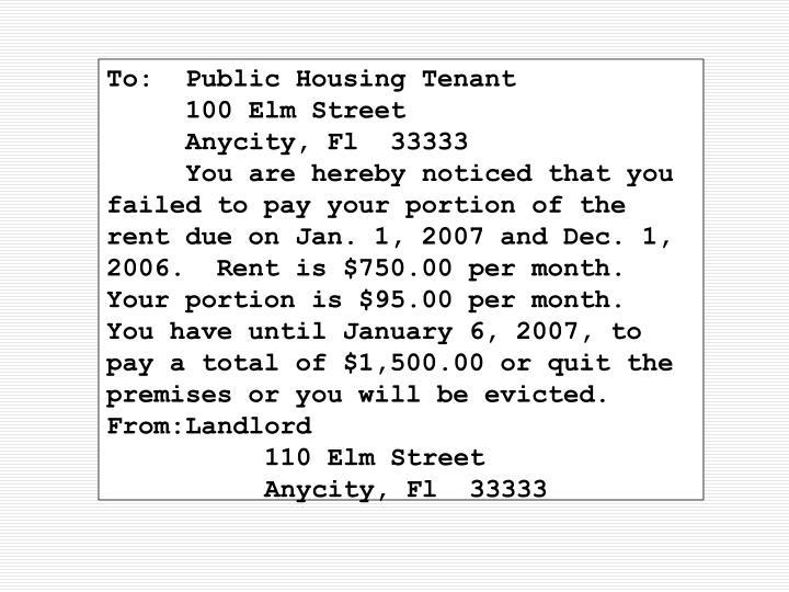 To:Public Housing Tenant