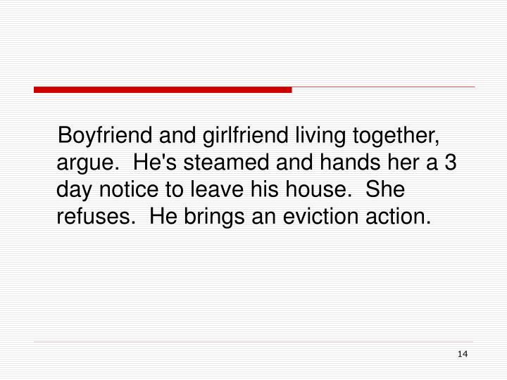 Boyfriend and girlfriend living together, argue.  He's steamed and hands her a 3 day notice to leave his house.  She refuses.  He brings an eviction action.