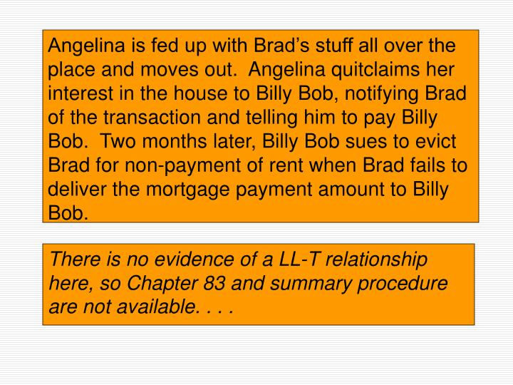 Angelina is fed up with Brad's stuff all over the place and moves out.  Angelina quitclaims her interest in the house to Billy Bob, notifying Brad of the transaction and telling him to pay Billy Bob.  Two months later, Billy Bob sues to evict Brad for non-payment of rent when Brad fails to deliver the mortgage payment amount to Billy Bob.