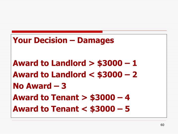 Your Decision – Damages