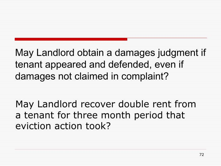 May Landlord obtain a damages judgment if tenant appeared and defended, even if damages not claimed in complaint?