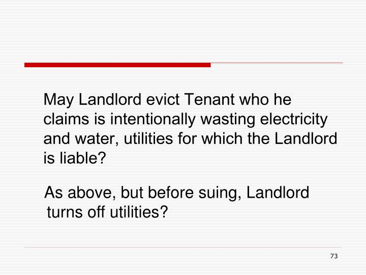 May Landlord evict Tenant who he claims is intentionally wasting electricity and water, utilities for which the Landlord is liable?