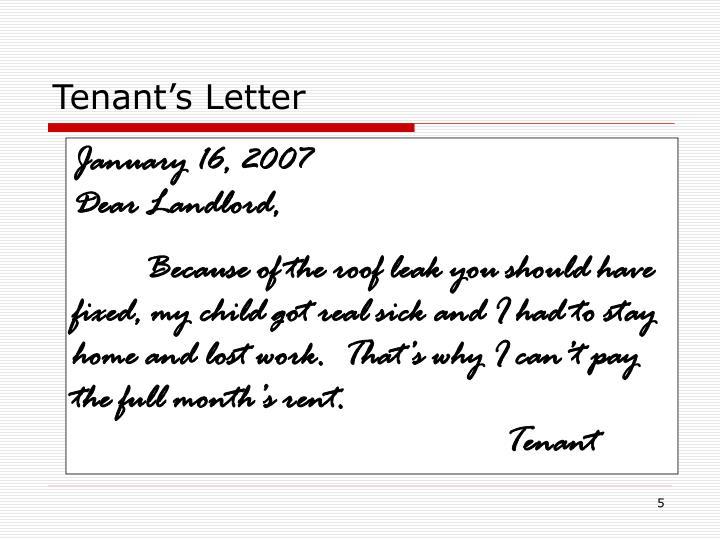 Tenant's Letter