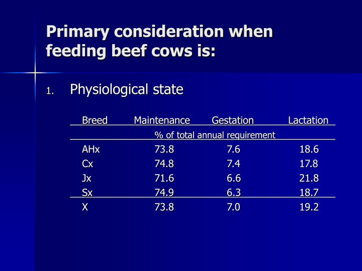 Primary consideration when feeding beef cows is: