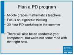 plan a pd program