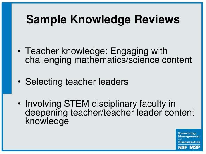 Sample Knowledge Reviews