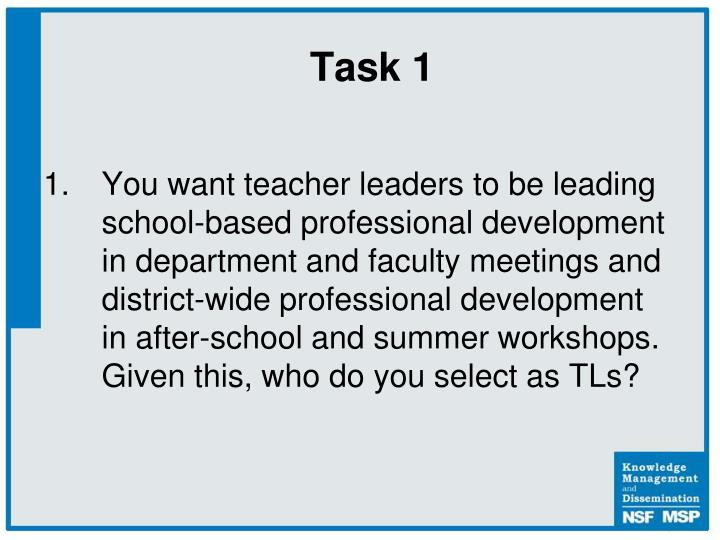 You want teacher leaders to be leading school-based professional development in department and faculty meetings and district-wide professional development in after-school and summer workshops.  Given this, who do you select as TLs?