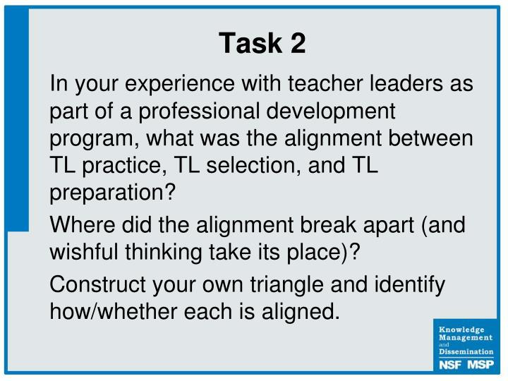 In your experience with teacher leaders as part of a professional development program, what was the alignment between TL practice, TL selection, and TL preparation?