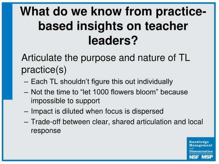 Articulate the purpose and nature of TL practice(s)