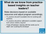 what do we know from practice based insights on teacher leaders1