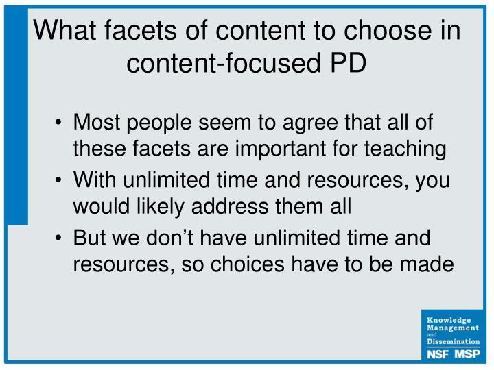 What facets of content to choose in content-focused PD