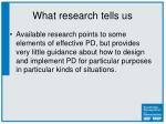 what research tells us