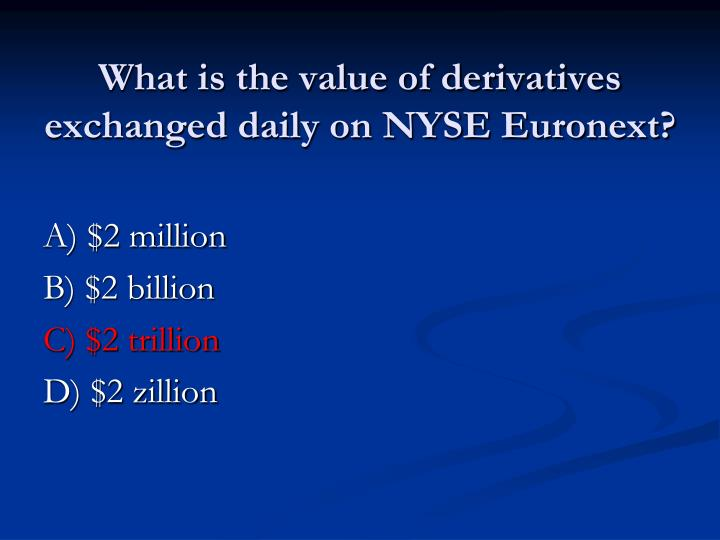 What is the value of derivatives exchanged daily on NYSE Euronext?