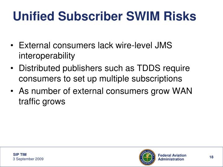 Unified Subscriber SWIM Risks