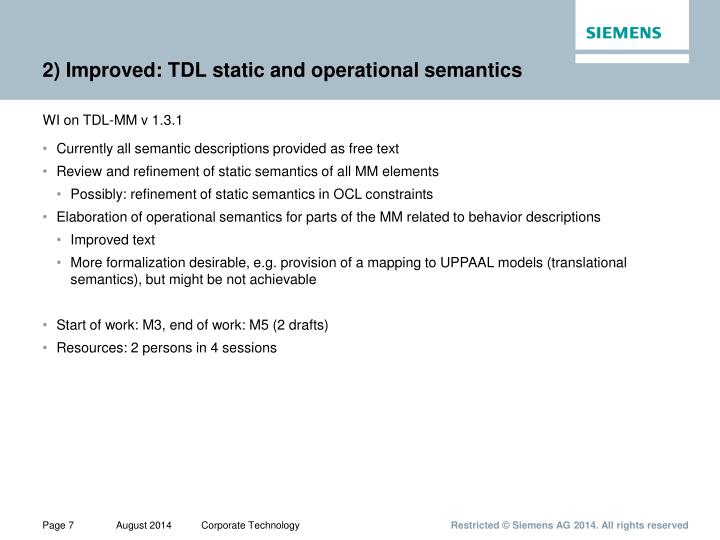 2) Improved: TDL static and operational